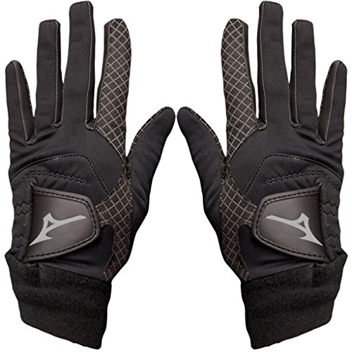 Mizuno Pair of 2018 ThermaGrip Ladies Thermal Playing Golf Gloves Black Large