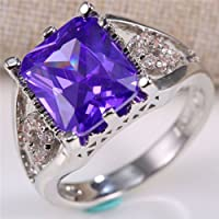 Natural 4Ct Amethyst 925 Silver Women Men Wedding Engagement Ring Size 7-9 (9)