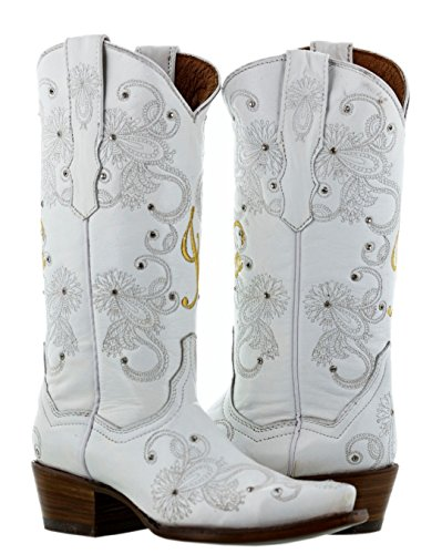 Cowboy Professional - Womens I Do White Gold Western Wedding Cowboy Boots Snip 8.5 BM by Cowboy Professional
