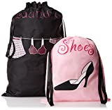 PURE STYLE Girlfriends Women's Travel Drawstring Bag Set Shoe and Laundry, Pink/Black, One Size