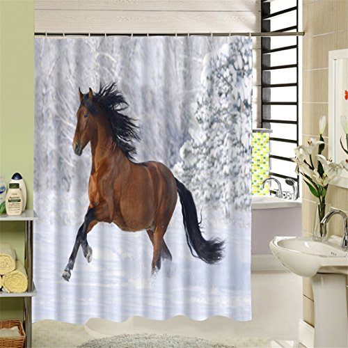 Yeensio Rideau De Douche New Waterproof Horse Shower Curtain Eco-Friendly Washable Bath With Rings For Home Decor Drop Shipping Y677 90X180CM