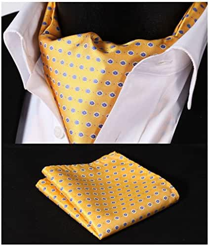 HISDERN Men's Ascot Polka Dot Jacquard Woven Gift Cravat Tie and Pocket Square Set