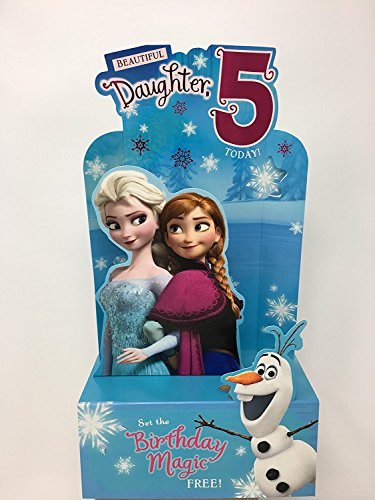 DAUGHTER AGE 5 BIRTHDAY FROZEN STAND UP CARD -