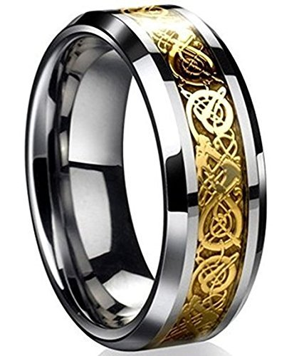 - 8mm Tungsten Carbide Ring Silvering Celtic Dragon Blue Carbon Fibre Inlay Wedding Band Size 6-13 (12, Gold)