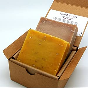 Beer Soap Gift Set (2 Full Size Bars) – Refreshing Orange, Patchouli Peppermint – Handmade with Real Beer, All Natural / Organic Ingredients