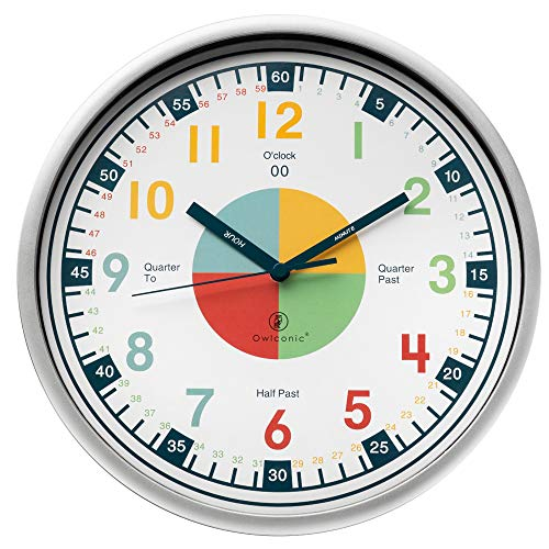 (Telling Time Teaching Clock. Kids Room, Playroom Décor Analog Silent Wall Clock. Great Visual Learning Clock Time Resource. Perfect Educational Tool for Homeschool, Classroom, Teachers and Parents.)