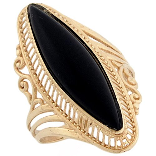 Jewelry Liquidation 14k Solid Yellow Gold Filigree Marquise Onyx Fancy Ring ()