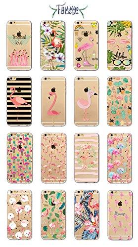 Coque iPhone 6 Plus 6s Plus Housse étui-Case Transparent Liquid Crystal en TPU Silicone Clair,Protection Ultra Mince Premium,Coque Prime pour iPhone 6 Plus 6s Plus-Flamingo-style 12