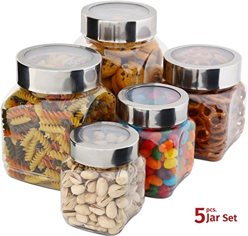 Plastic Storage Jars With Lids; Milton Food Storage Containers 5 Multi Size Set Clear Square Lightweight PET Canisters;Wide-Mouth, Airtight Lids Caps; Large Big And Small Empty Jars 5-Pack BPA Free - Candy Container