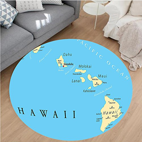 Nalahome Modern Flannel Microfiber Non-Slip Machine Washable Round Area Rug-of Hawaii Islands with Capital Honolulu Borders Important Cities and Volcanoes Image Blue area rugs Home Decor-Round 79'' by Nalahome