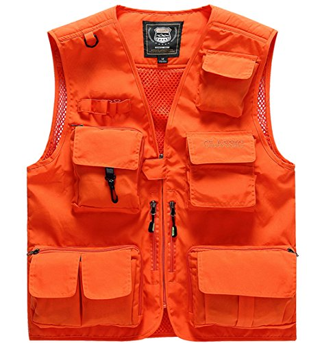Men's Fishing Vest with 15 Multi Pockets Travel Photography Vest Outdoor Hunting Breathable Jackets (Orange, Large) ()