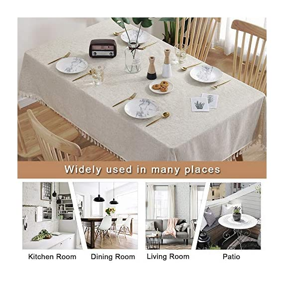 """ColorBird Solid Color Tassel Tablecloth Cotton Linen Dust-Proof Shrink-Proof Table Cover for Kitchen Dining Farmhouse Tabletop Decoration (Square, 55 x 55 Inch, Linen) - MASTERFUL DESIGN - Created from finest cotton linens and finished with beautiful tassels edge, this ColorBird stylish linen tablecloth will make your meal time more luxurious by adding shimmery flatware and simplistic porcelain plates DURABLE MATERIAL - Manufactured from super, hard wearing 100% cotton linen fabric, with a seamless construction that won't easily fray after long term use; Tablecloth measures 55"""" Width x 55"""" Length (140 x 140 cm), includes tassel length, size deviation is between 1 to 2 inch. Fits tables that seat 4 people EASY TO CARE FOR - Machine washable in low temperature or cold water, gentle cycle; Hand wash best; No bleaching; Tumble dry on low heat or lay flat to dry - tablecloths, kitchen-dining-room-table-linens, kitchen-dining-room - 51b10MfSD1L. SS570  -"""