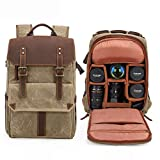 Vintage Canvas SLR Camera Backpack,High Capacity Waterproof Shockproof Leisure Travel Bag Outdoor Camera Rucksack For Canon Nikon Sony Laptop Tripod Lens And Accessories -31 18 45 cm Kha