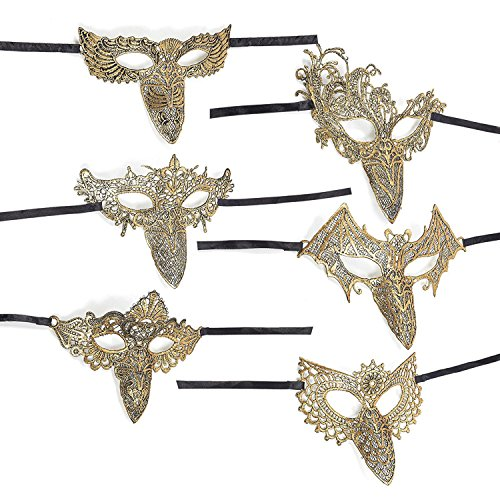 Instantly Recognizable Costumes (Masquerade Masks – 6-Pack Long Nose Party Masks, Gold Lace Venetian Ball Bird Face Masks For Luxury Parties, Elegant Balls, Mardi Gras - 7.5 x 6.7 To 9.2 x 7 inches)