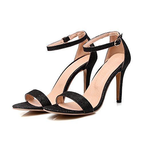 Peep 1black AIWEIYi High Stilettos Sandals Heel Dress Buckle toe Strap 10 Womens 11YqxaPwr5