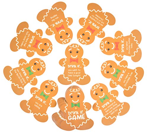 - Christmas Drinking Card Game - 30-Piece Holiday Party Fun Drink If Game Supplies, Cute Gingerbread Man Cookie Design, 30 Assorted Text Challenges, 2.8 x 3.5 Inches