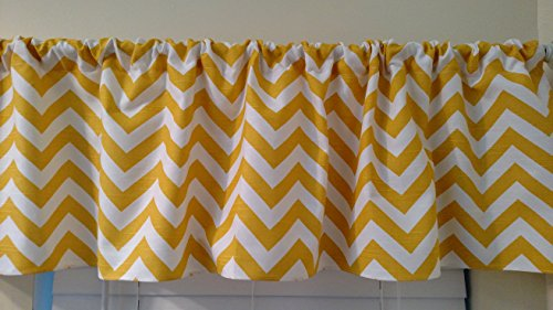 Yellow Chevron valance curtain, window treatment , Neutral gender, zig zag, stripes, 54