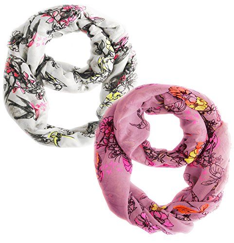 Peach Couture Paint The Town Red Cherry Blossom Floral Print Infinity loop Scarves 2 Pack Bright White & Bright Baby -