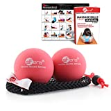 sFera Deep Tissue Yoga Massage Balls, Trigger Point and Myofascial Therapy. 2 (2.5 inch) Firm Balls w/mesh Bag, (RLZ2 MED - Red)
