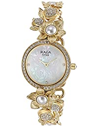 Titan Women's 'Raga Aurora' Quartz Stainless Steel and Brass Casual Watch, Color:Gold-Toned (Model: 95043YM01)