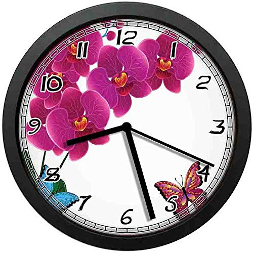 Botanical Composition with Pink Orchid Bouquet and Flying Colorful Butterflies Wall Clock Nice for Gift or Office Home Unique Decorative Clock Wall Decor 10in with Frame (Unique Wall Colorful Clocks)