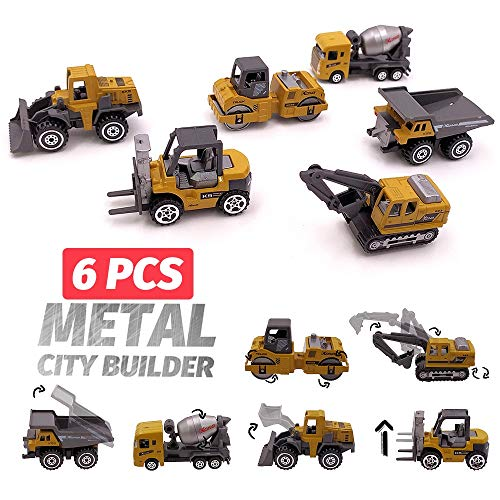 Diecasts Toy Vehicles 6 pcs Alloy Mini Engineering Car Model 6 in 1 1 per 64 Metal Diecast Engineering Toy Vehicle Car Toy Truck Forklift Excavator (Die Cast Promotions 1 64 Scale Trucks)