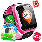 Kids Smartwatch,Smart Watches for Boys Girls with GPS Tracker SOS Anti-lost Alarm Pedometer SIM Card Slot Camera Electronic Learning Toys Birthday Gifts Travel Camping (Pink)
