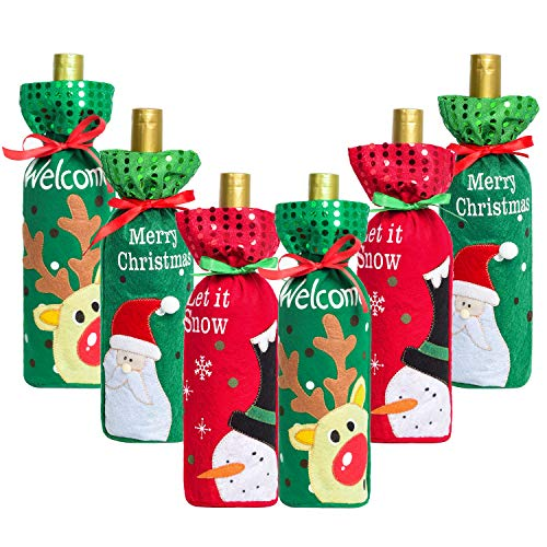 DearHouse 6 Pack Christmas Wine Bottle Cover, Holiday Wine Bottle Cover Bags, ChristmasTable Decoration for Christmas…
