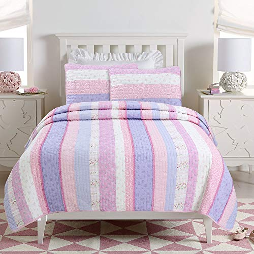 (Cozy Line Home Fashions Eden Pink Lilac White Romantic Lace Floral Flower Pattern Print Striped 100% Cotton Bedding Quilt Set Reversible Coverlet Bedspread for Girl (Lilac Stripe, Full/Queen -3 piece))
