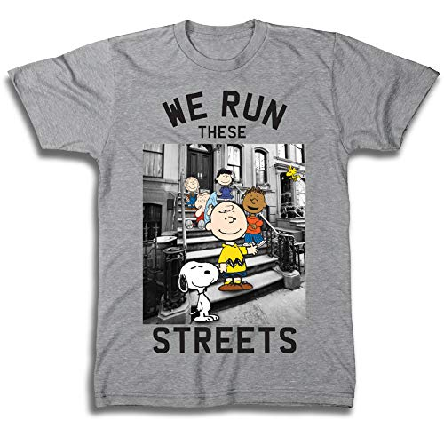 Snoopy Mens Peanuts Group Shirt, Linus, Charlie Brown - Throwback Classic T-Shirt (Heather Grey, Medium)]()