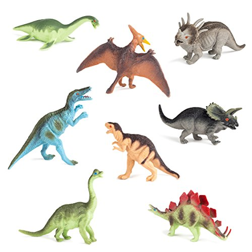Hands On Learning 8-Piece Educational Dinosaur Toy Set, 7-Inch