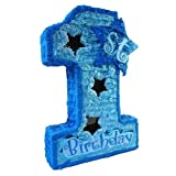Boys First Birthday Pinata, 20'' Blue Number One with Star Window and Shiny Accents - Party Game, Decoration Centerpiece and Photo Prop