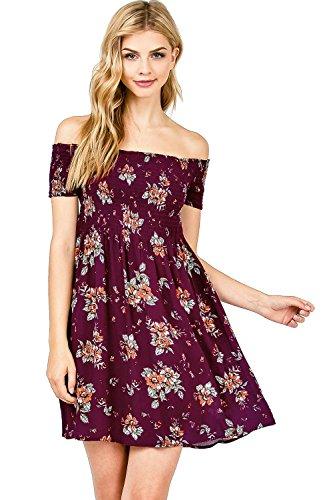 Ambiance Wine Apparel Juniors Skirt Dress Short Floral Women's Sleeve 8dZqxErY8n