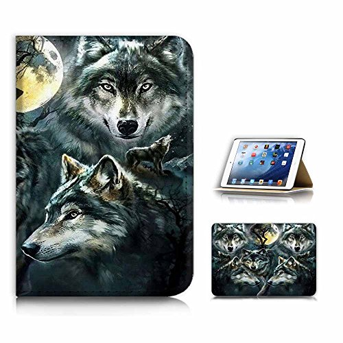 (For iPad Mini 4 ) Flip Style Case Cover, Shock Protection Design with Screen Protector - B31043 Night Wolf -