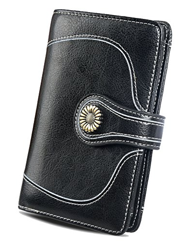 Womens RFID Wallets Leather Small Wallet Card Case Ladies Purse With ID Window by Zecmos
