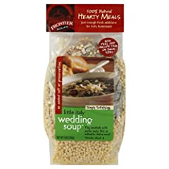 Frontier Hearty Little Italy Wedding Soup, 9 Ounce -- 8 per case. Our International Collection top seller, this Hearty Meal recipe is adapted for families. Tiny meatballs made with our whole grains seasoning and pastini make this favorite Ita...