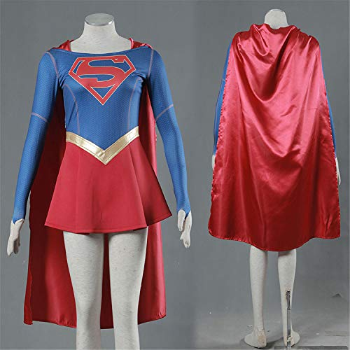 NATVVA Halloween Cosplay Supergirl Superwomen Superhero Cosplay Costume Women Tube Top Fancy Dress Party Outfit with Cloak