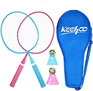 KH 4 Player Badminton Rackets Set for Adults Kids, Lightweight & Sturdy, 4 Racquets, 4 Shuttlecocks and Ca