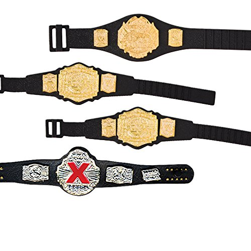 Set of 4 Different WWE & TNA Belts for Wrestling Action Figures by Jakks Pacific