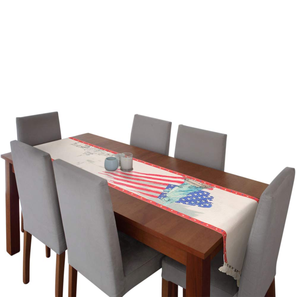 "Amsper Patriotic Table Runners, Artificial Burlap Table Runners Printed with America Flag, Statue of Liberty, Perfect for Independence Day, 4th of July Party Holiday Event Decoration (13x72"")"