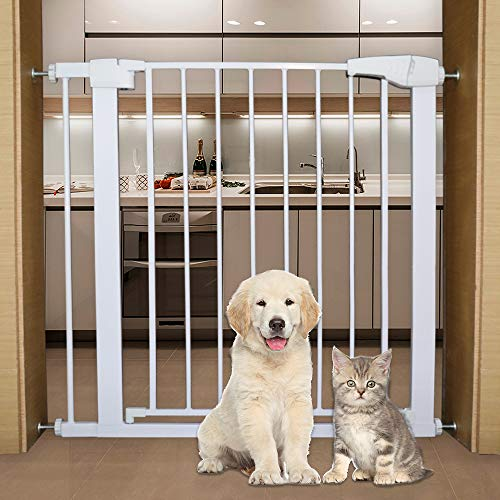 Indoor Safety Gate,Bigzzia Safety Baby Gate Extra Wide Durability Auto Close Pet Gate for House, Doorways, Stairs Included 2.75 Inch and 5.5 NCH Extension Kit