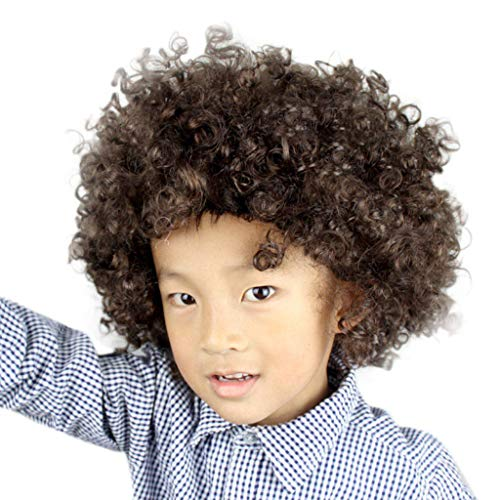 Dumanfs Party Disco Funny Afro Clown Hair Wigs, Football Fan-Kids Afro Masquerade Full Hair Wig Cosplay Party Wig -