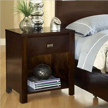 Modus Furniture Riva 1-Drawer Nightstand, Chocolate Brown