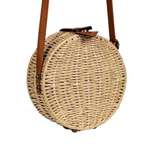 borsa rotonda borse paglia a Feminina donna le della del signore delle della fatta Borse a Brown donne mano della rattan tracolla di della spalla a delle per femminile borsa modo mano IRqFv