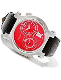 DUG.R Limited Edition Men's Red Dual Time Swiss Quartz Diamond Accented Leather Strap Watch