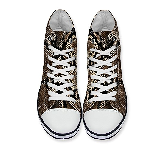 FOR U DESIGNS Stylish Snake Skin Print High-Top Canvas Shoes Lace Up Fashion Sneaker for Women brown 1 Bb5JRt
