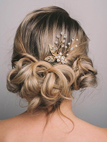 SWEETV Gold Wedding Hairpins Pearl Hair Pins Clip Bridal Jew