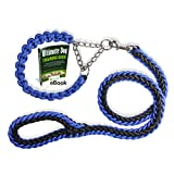 Olivery™ Martingale Braided Dog Collar with Solid Hand Made Leash - Ideal for Agility Obedience Behavior Training and Everyday Walk - Free Ebook - LIFETIME WARRANTY(Blue, Large)