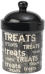 PetRageous Vintage Treat Jar for Pets, 9-Inch, Black/Natural