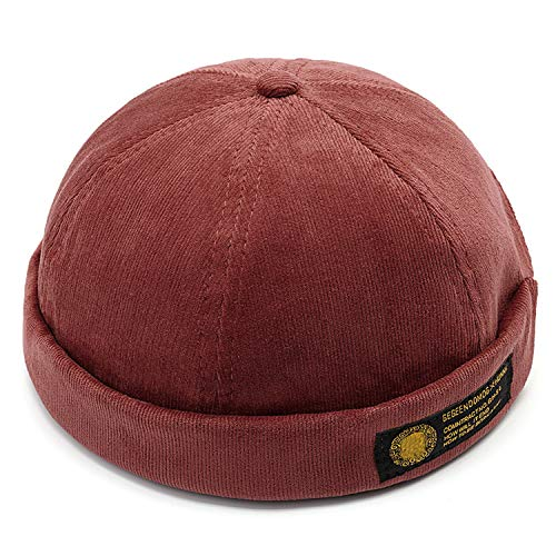 Lesov Vintage Dome Hat Mens Velvet for Men Retro Crimping Brimless Skull Caps Autumn Casual Hip Hop Cap Burgundy